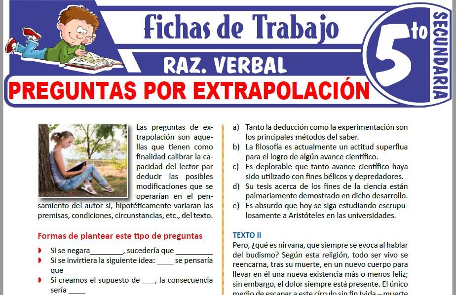Modelos de la Ficha de Preguntas por extrapolación para Quinto de Secundaria