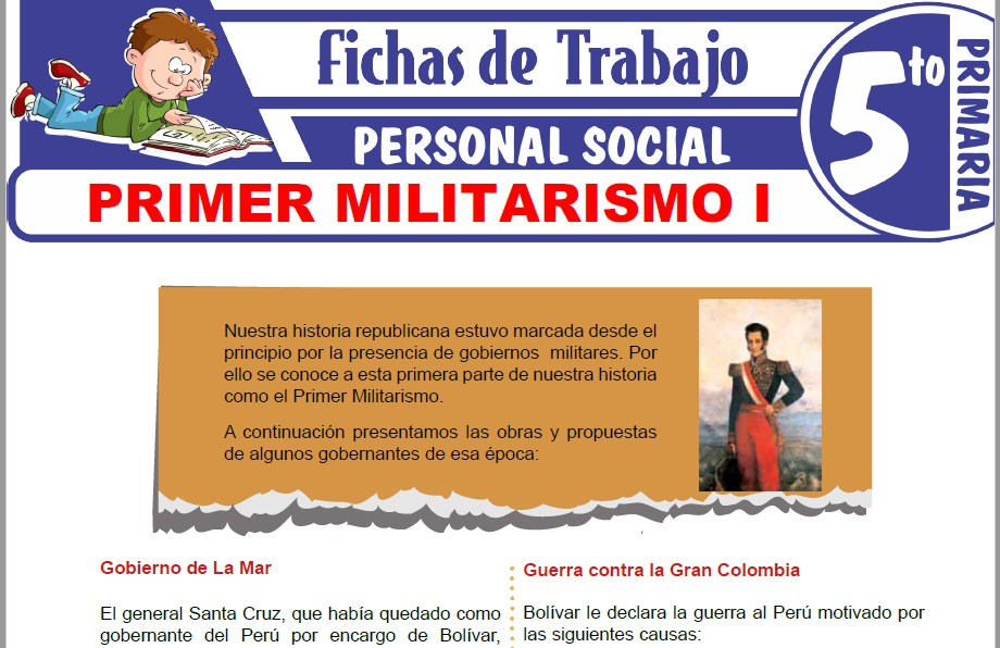 Modelos de la Ficha de Primer Militarismo I para Quinto de Primaria