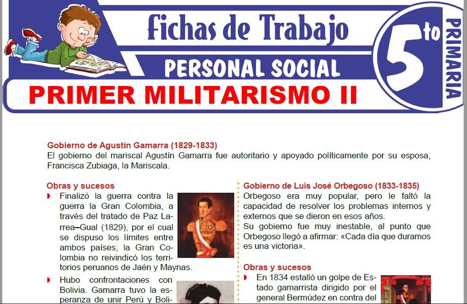 Modelos de la Ficha de Primer Militarismo II para Quinto de Primaria