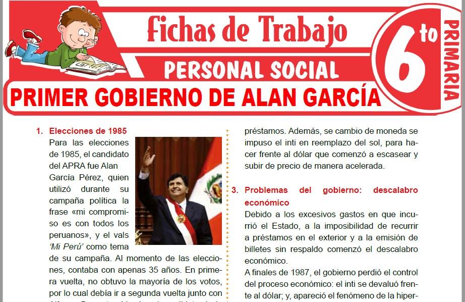 Modelos de la Ficha de Primer gobierno de Alan García para Sexto de Primaria