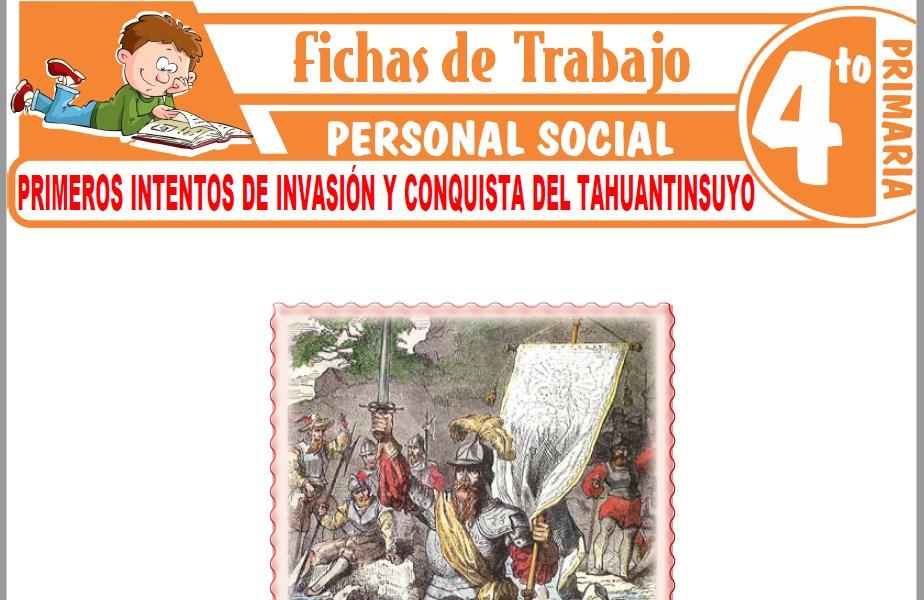 Modelos de la Ficha de Primeros intentos de invasión y conquista del Tahuantinsuyo para Cuarto de Primaria