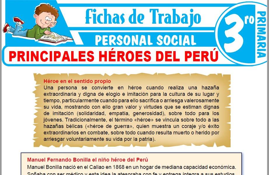 Modelos de la Ficha de Principales héroes del Perú para Tercero de Primaria