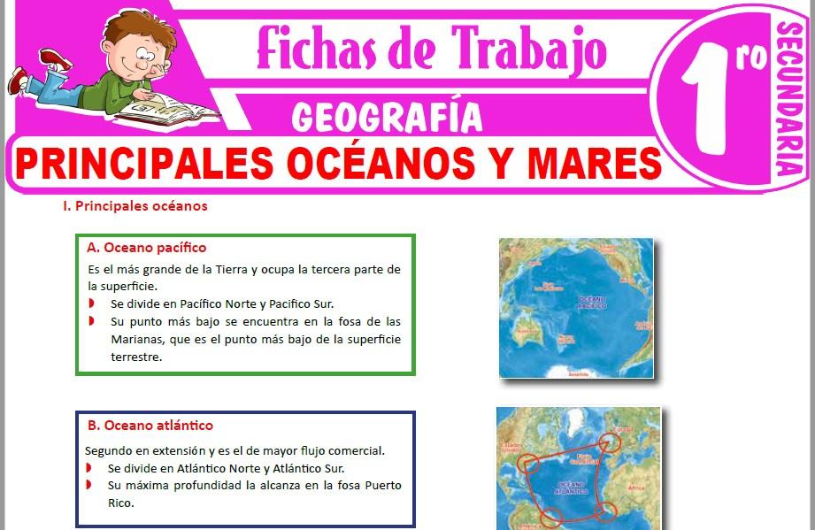 Modelos de la Ficha de Principales océanos y mares para Primero de Secundaria