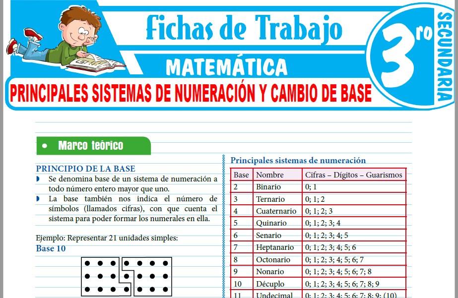 Modelos de la Ficha de Principales sistemas de numeración y cambio de base para Tercero de Secundaria