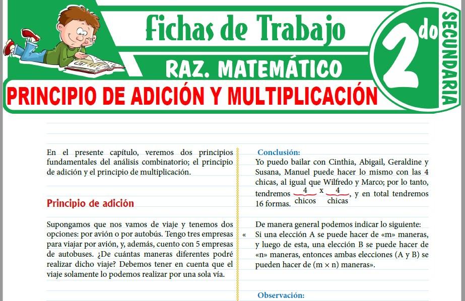 Modelos de la Ficha de Principio de adición y multiplicación para Segundo de Secundaria