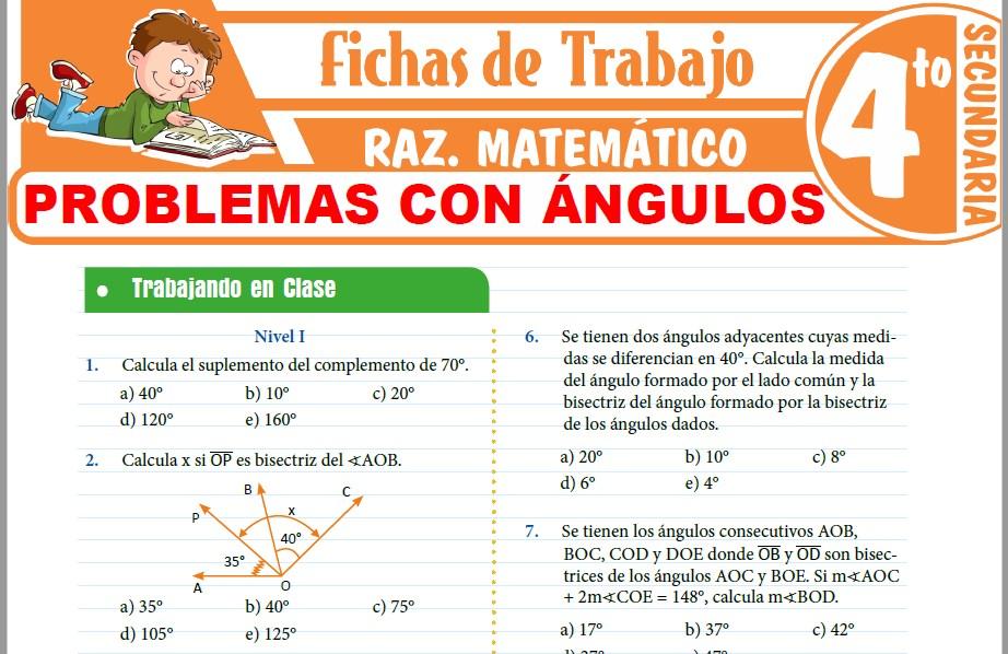 Modelos de la Ficha de Problemas con ángulos para Cuarto de Secundaria