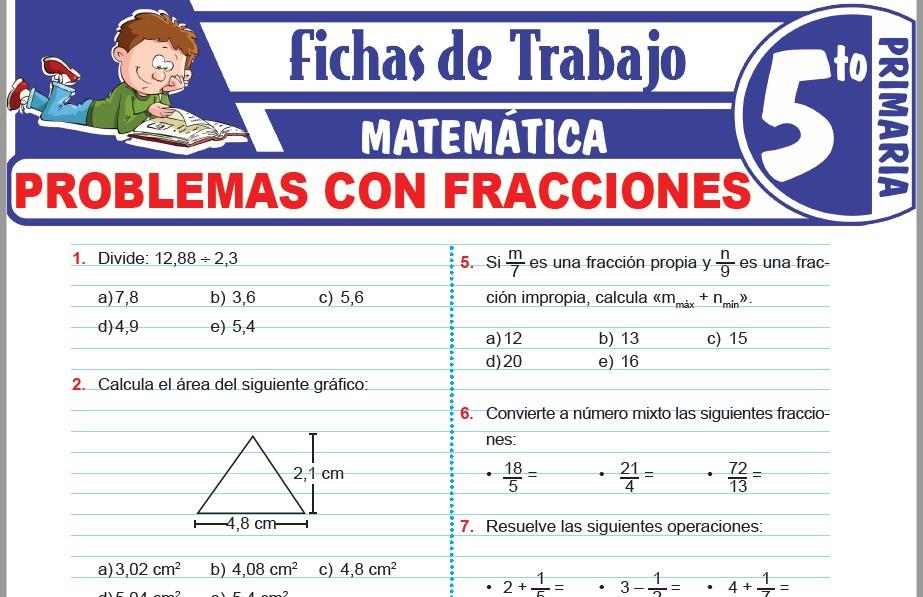 Modelos de la Ficha de Problemas con fracciones para Quinto de Primaria