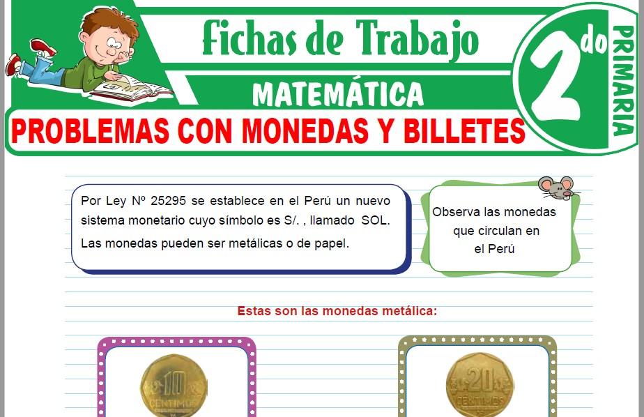 Modelos de la Ficha de Problemas con monedas y billetes para Segundo de Primaria
