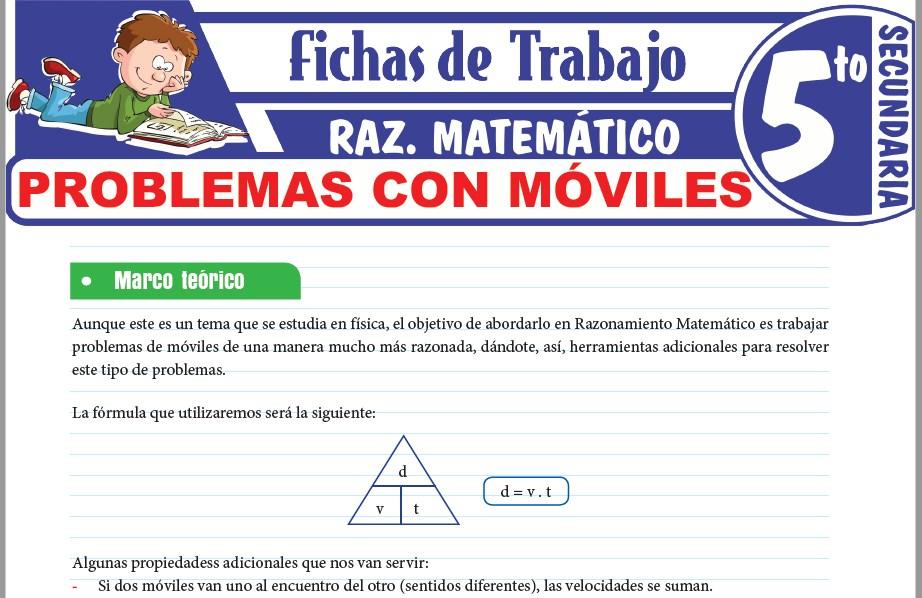 Modelos de la Ficha de Problemas con móviles para Quinto de Secundaria