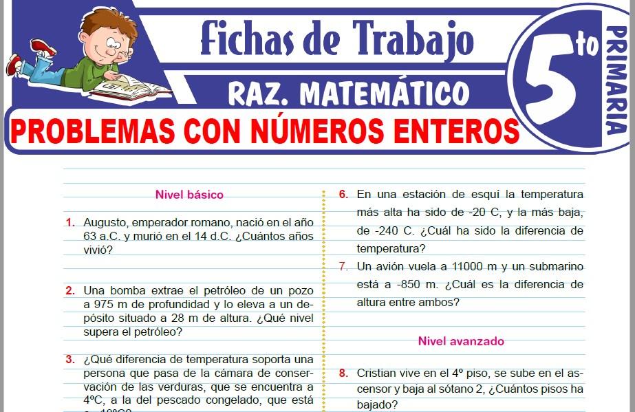Modelos de la Ficha de Problemas con números enteros para Quinto de Primaria