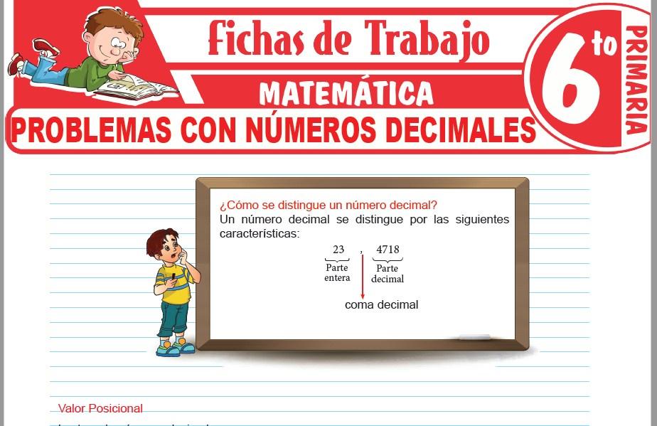 Modelos de la Ficha de Problemas con números decimales para Sexto de Primaria