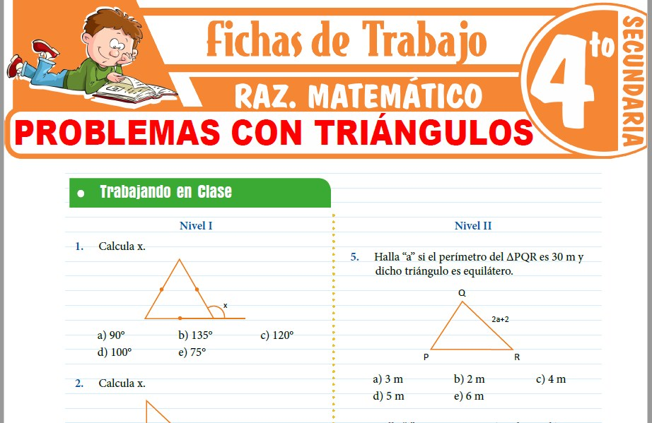 Modelos de la Ficha de Problemas con triángulos para Cuarto de Secundaria