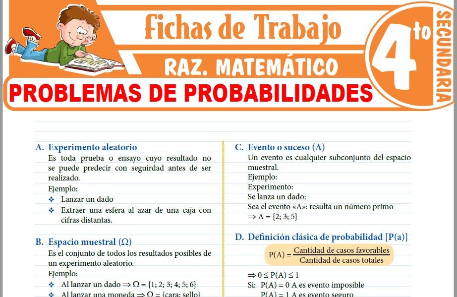 Modelos de la Ficha de Problemas de Probabilidades para Cuarto de Secundaria