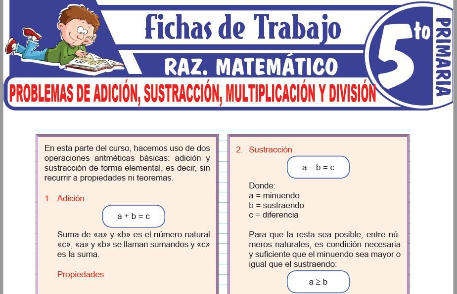 Modelos de la Ficha de Problemas de adición, sustracción, multiplicación y división para Quinto de Primaria