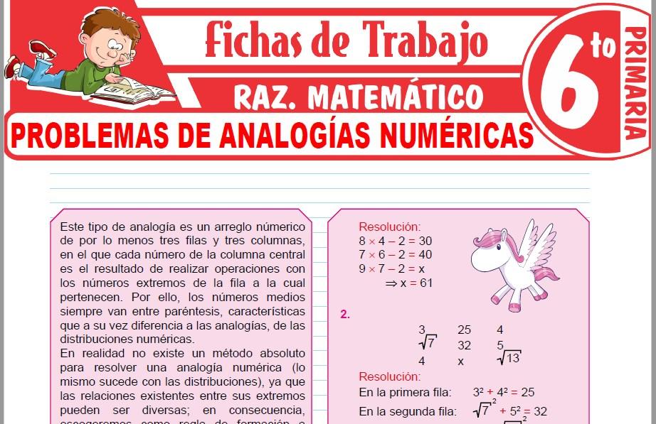 Modelos de la Ficha de Problemas de analogías numéricas para Sexto de Primaria