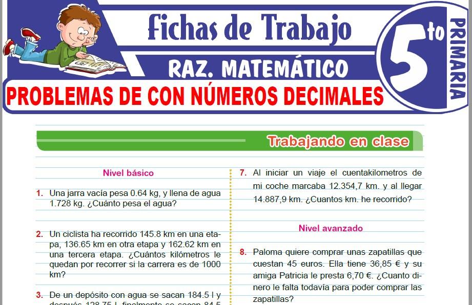 Modelos de la Ficha de Problemas de con números decimales para Quinto de Primaria