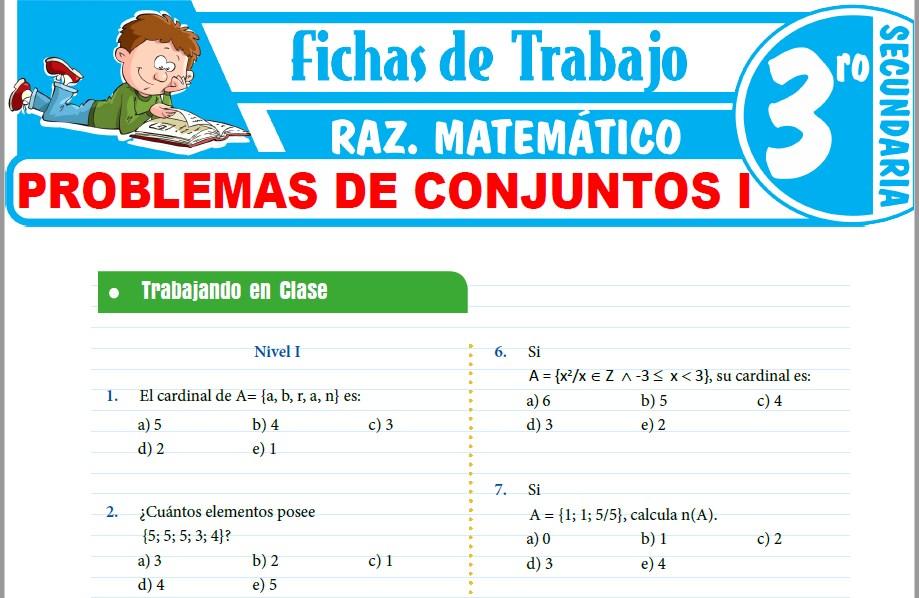 Modelos de la Ficha de Problemas de conjuntos I para Tercero de Secundaria