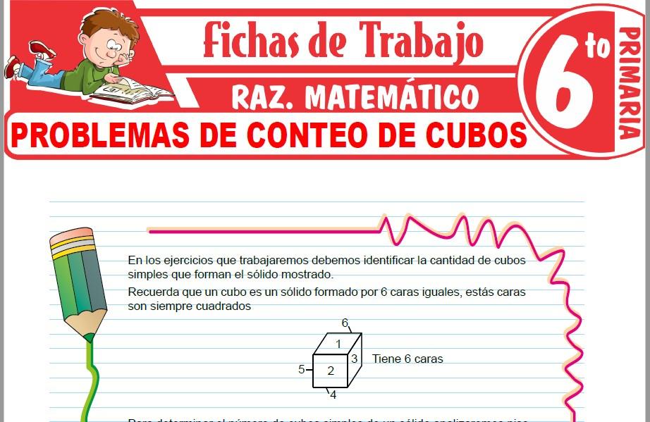 Modelos de la Ficha de Problemas de conteo de cubos para Sexto de Primaria