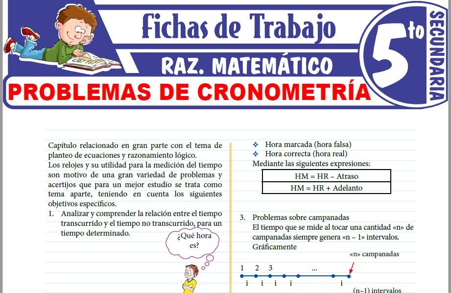 Modelos de la Ficha de Problemas de cronometría para Quinto de Secundaria