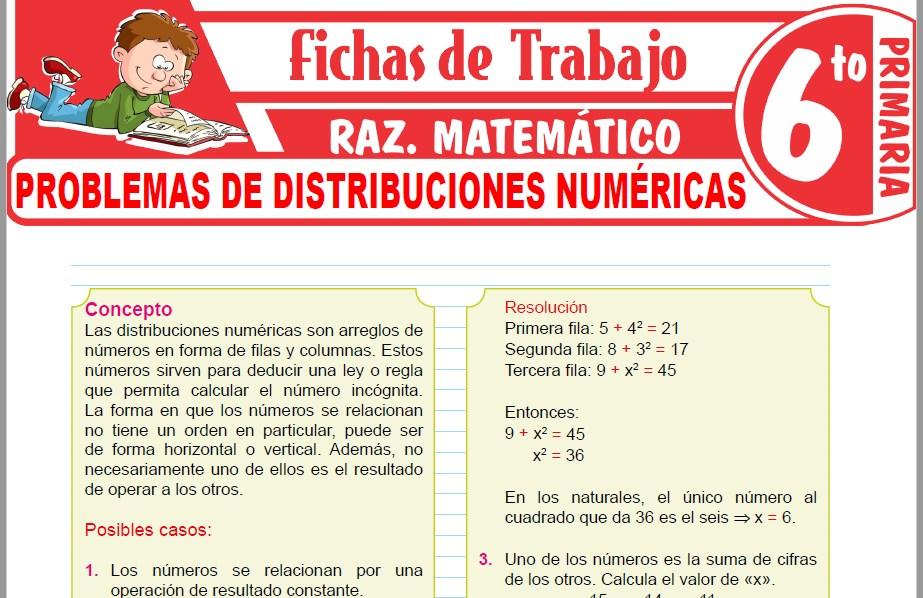 Modelos de la Ficha de Problemas de distribuciones numéricas para Sexto de Primaria