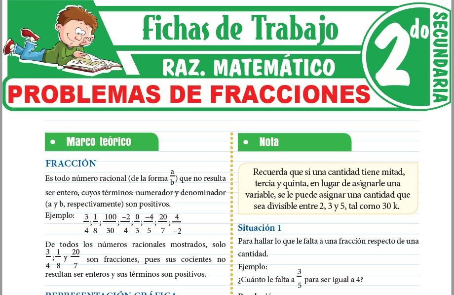 Modelos de la Ficha de Problemas de fracciones para Segundo de Secundaria