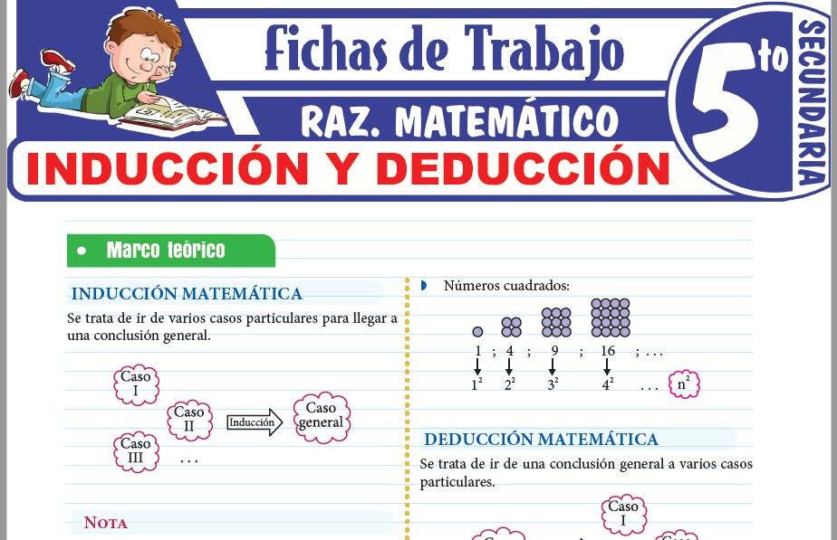 Modelos de la Ficha de Problemas de inducción y deducción para Quinto de Secundaria