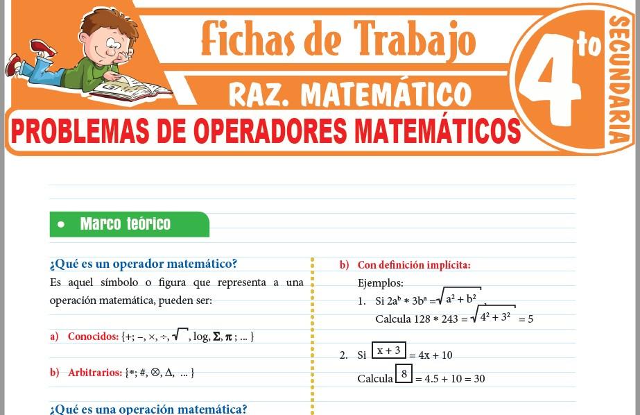 Modelos de la Ficha de Problemas de operadores matemáticos para Cuarto de Secundaria