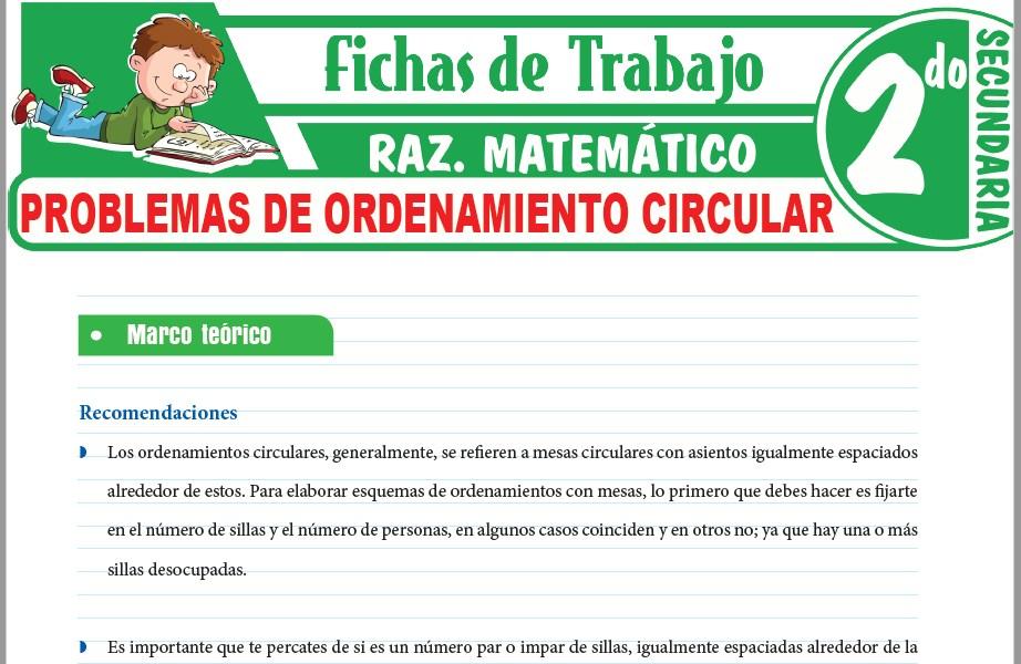 Modelos de la Ficha de Problemas de ordenamiento circular para Segundo de Secundaria