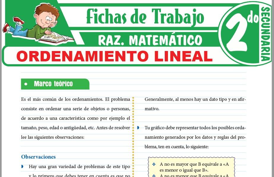 Modelos de la Ficha de Problemas de ordenamiento lineal para Segundo de Secundaria