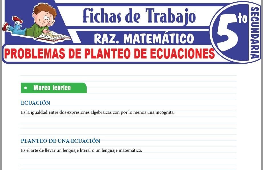 Modelos de la Ficha de Problemas de planteo de ecuaciones para Quinto de Secundaria