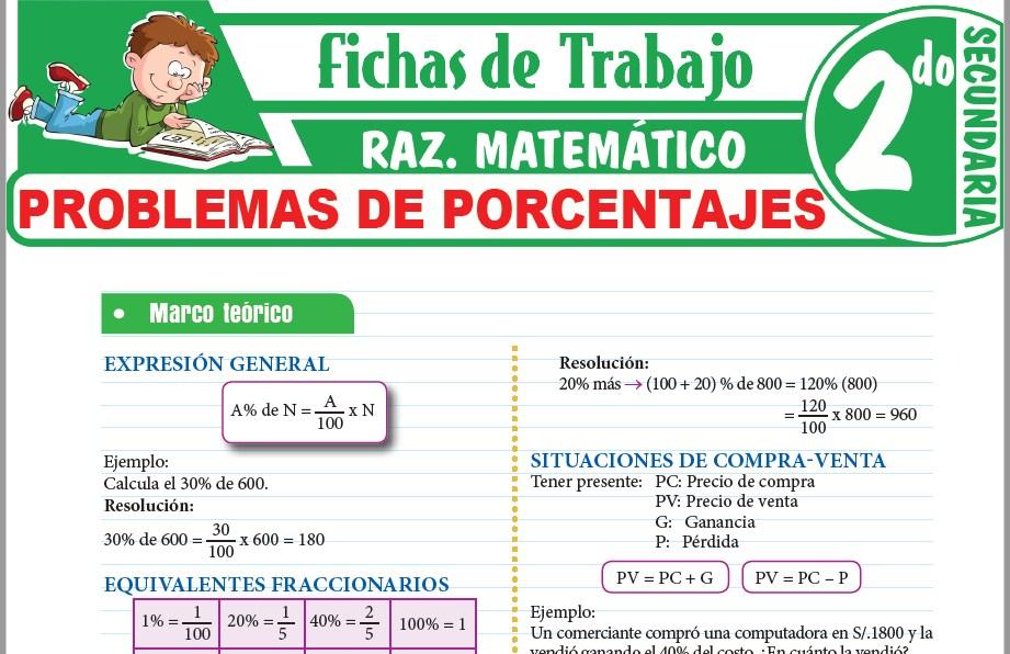 Modelos de la Ficha de Problemas de porcentajes para Segundo de Secundaria