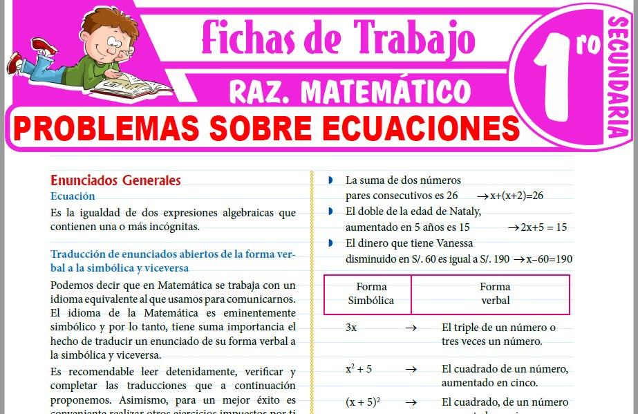 Modelos de la Ficha de Problemas sobre ecuaciones para Primero de Secundaria