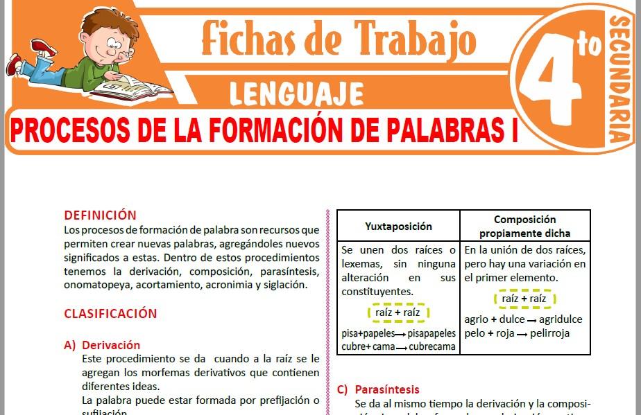 Modelos de la Ficha de Procesos de la formación de palabras I para Cuarto de Secundaria