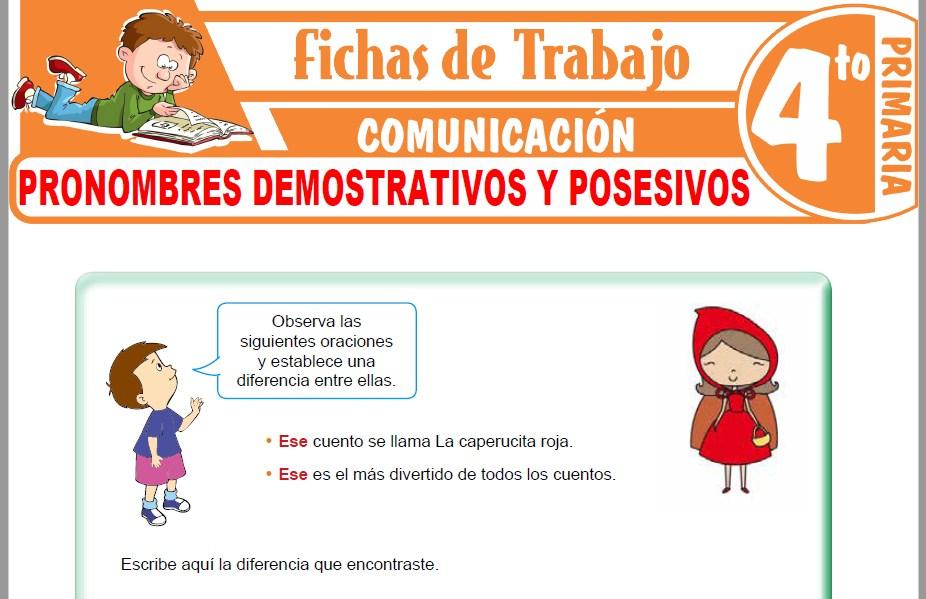 Modelos de la Ficha de Pronombres demostrativos y posesivos para Cuarto de Primaria