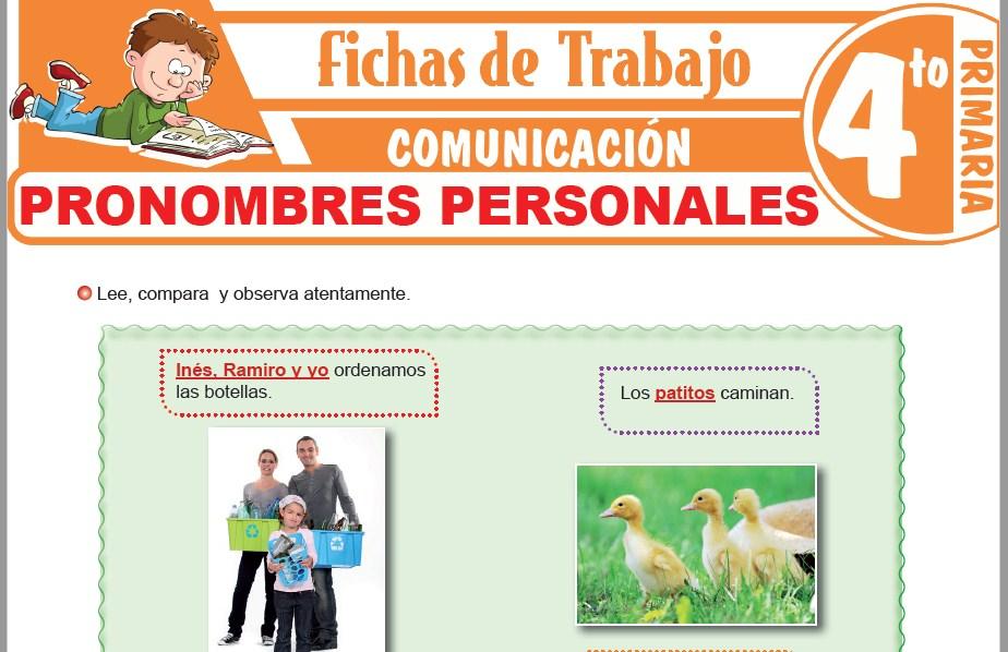 Modelos de la Ficha de Pronombres personales para Cuarto de Primaria