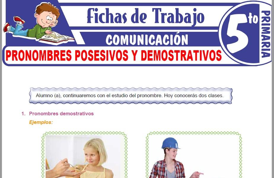 Modelos de la Ficha de Pronombres posesivos y demostrativos para Quinto de Primaria