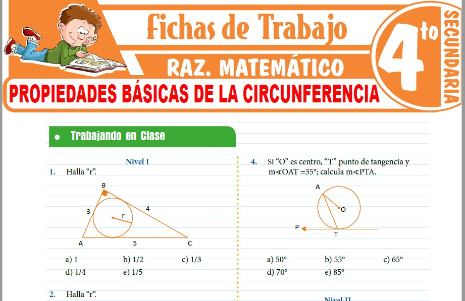 Modelos de la Ficha de Propiedades básicas de la circunferencia para Cuarto de Secundaria