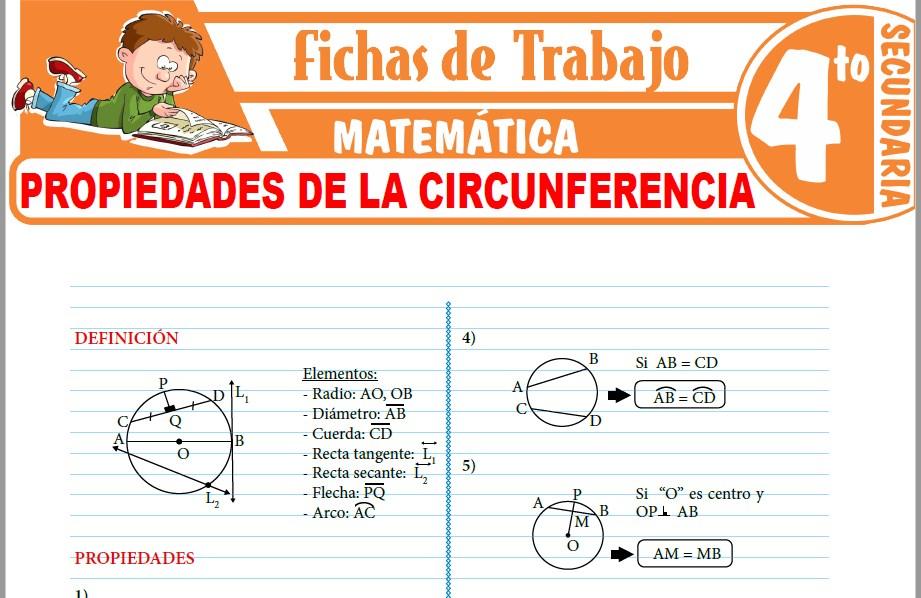 Modelos de la Ficha de Propiedades de la circunferencia para Cuarto de Secundaria