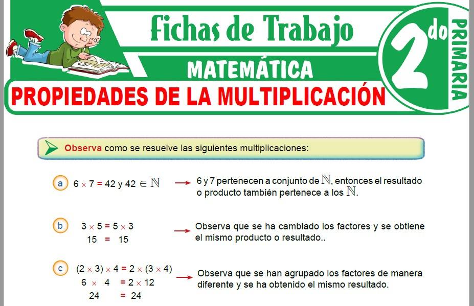 Modelos de la Ficha de Propiedades de la multiplicación para Segundo de Primaria