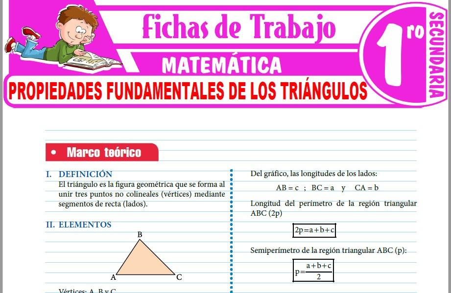 Modelos de la Ficha de Propiedades fundamentales de los triángulos para Primero de Secundaria