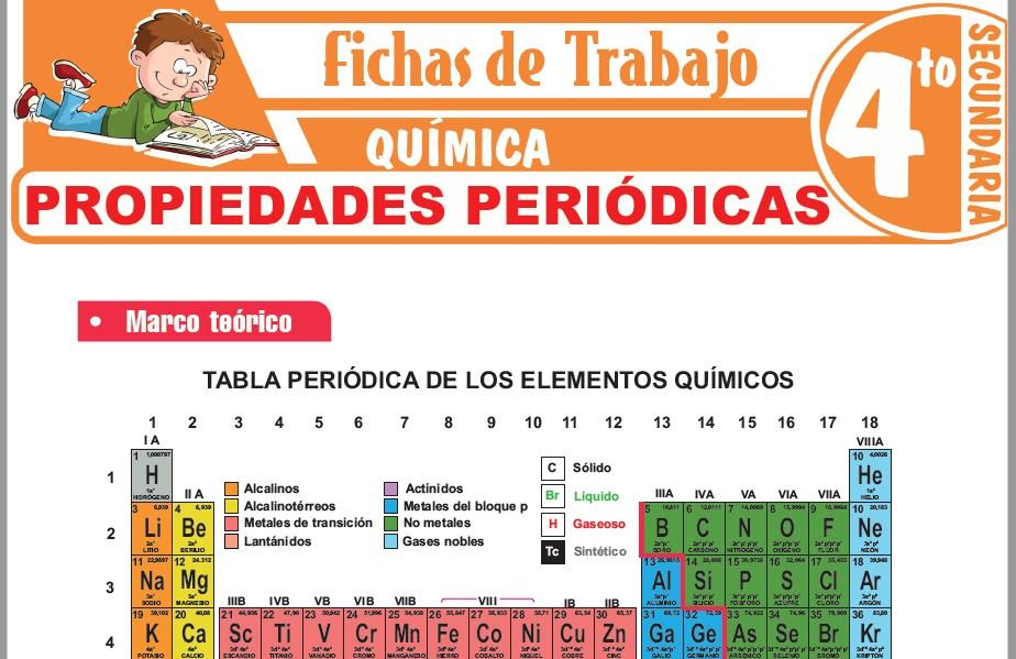 Modelos de la Ficha de Propiedades periódicas para Cuarto de Secundaria