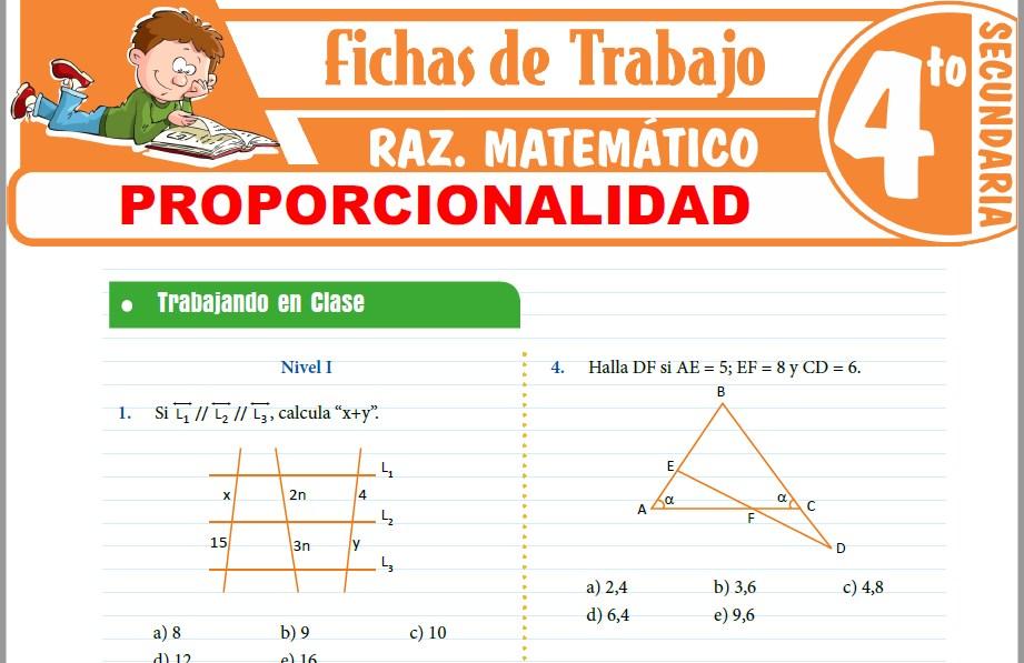 Modelos de la Ficha de Proporcionalidad para Cuarto de Secundaria