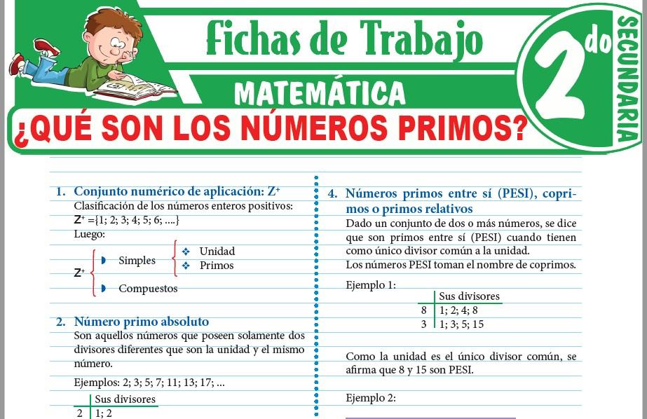 Modelos de la Ficha de ¿Qué son los números primos? para Segundo de Secundaria