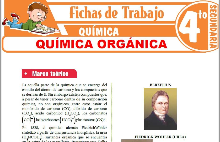 Modelos de la Ficha de Química orgánica para Cuarto de Secundaria