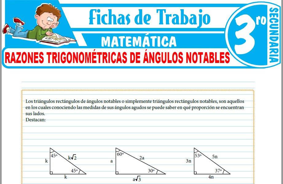 Modelos de la Ficha de Razones trigonométricas de ángulos notables para Tercero de Secundaria
