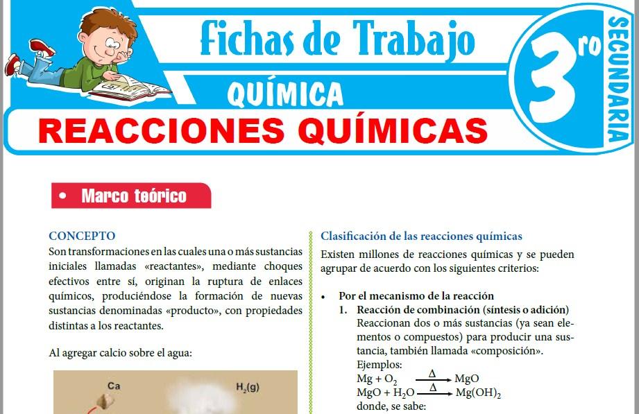 Modelos de la Ficha de Reacciones Químicas para Tercero de Secundaria