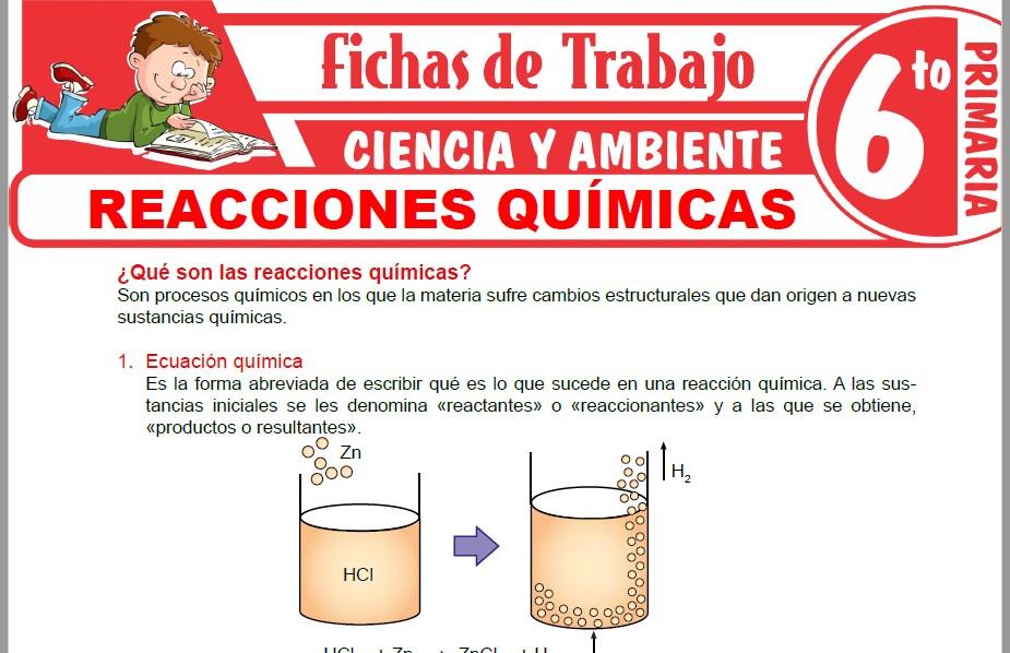 Modelos de la Ficha de Reacciones químicas para Sexto de Primaria
