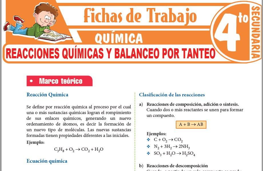 Modelos de la Ficha de Reacciones químicas y balanceo por tanteo para Cuarto de Secundaria