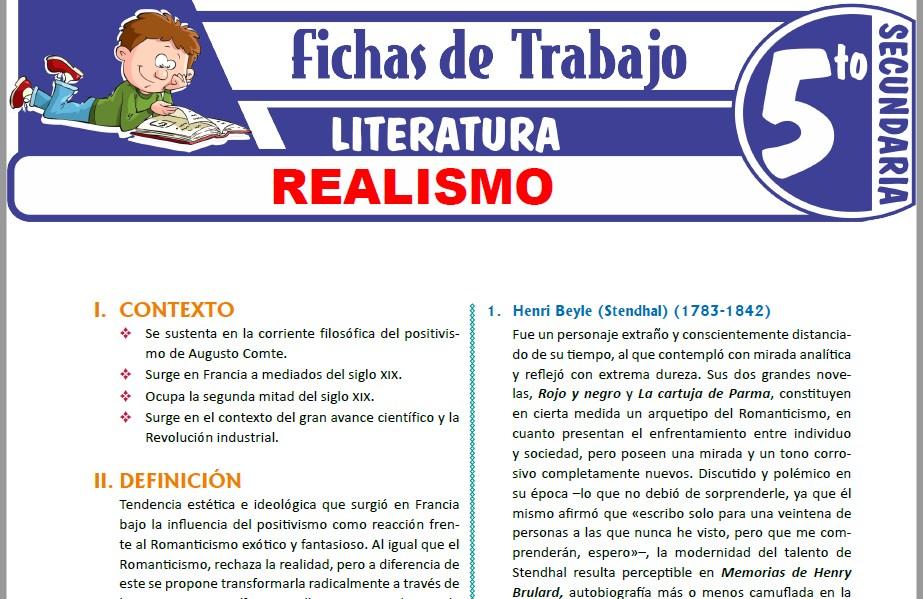 Modelos de la Ficha de Realismo para Quinto de Secundaria