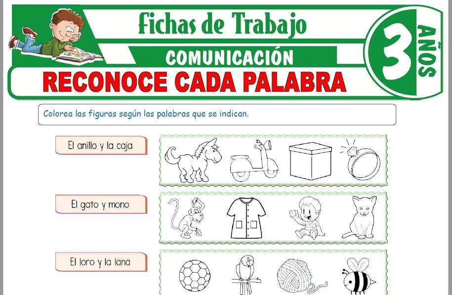 Modelos de la Ficha de Reconoce cada palabra para Niños de Tres Años